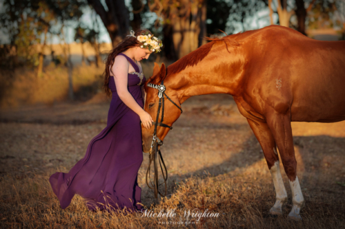 That special moment between horse and girl in ball gown